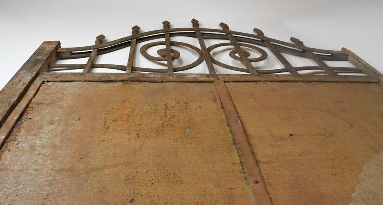 Arched Iron Door with Scrollwork, circa 1900 For Sale 4