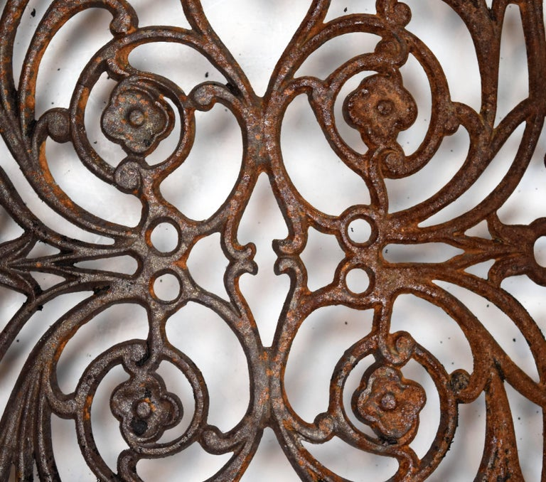 Curved Iron Heat Grate with Floral Motif, Multiple Available For Sale 1