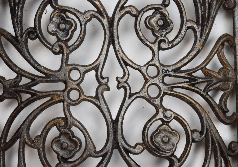 Curved Iron Heat Grate with Floral Motif, Multiple Available For Sale 2