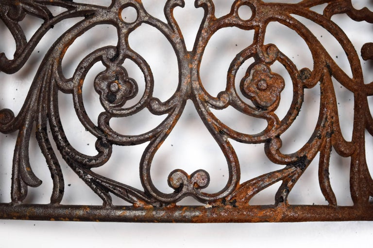 Curved Iron Heat Grate with Floral Motif, Multiple Available For Sale 4