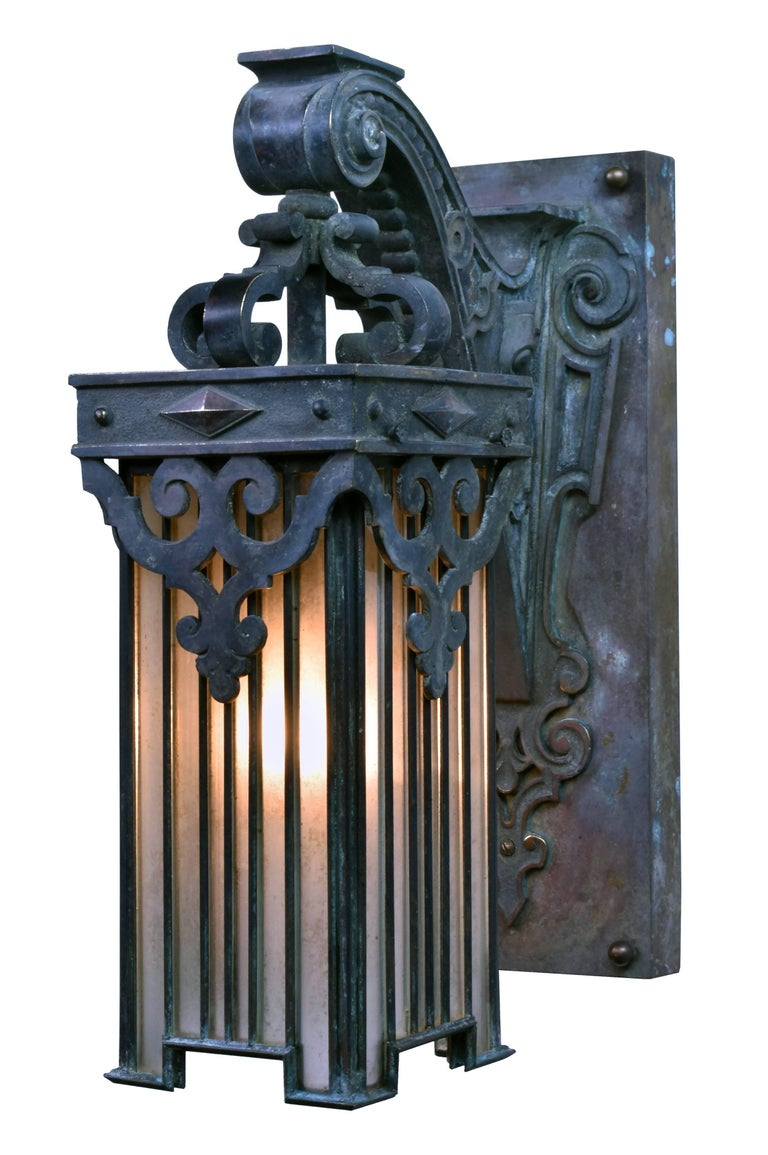 Bronze Wall Sconce With Shade : Cast Bronze Victorian Sconce with Leaded Glass Shade For Sale at 1stdibs