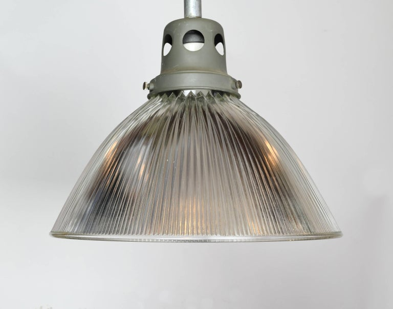 Glass Large Holophane Industrial Pendant with Reflective Shade For Sale