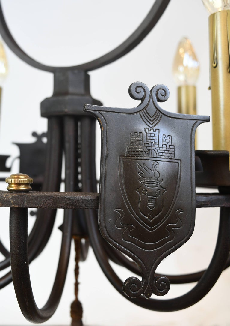 Iron Four Candle Ring Chandelier with Shields For Sale 2