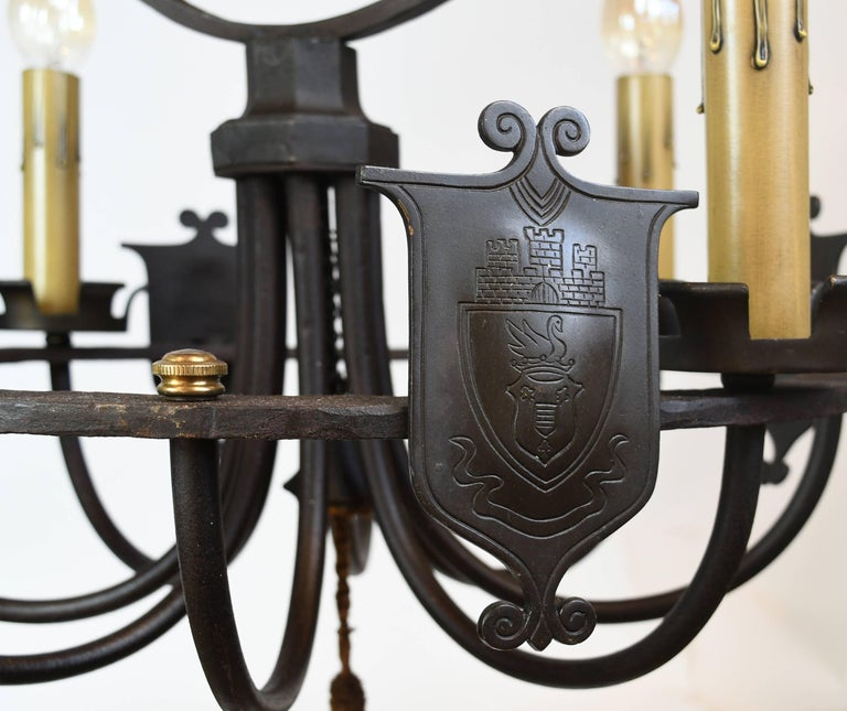 Iron Four Candle Ring Chandelier with Shields For Sale 3