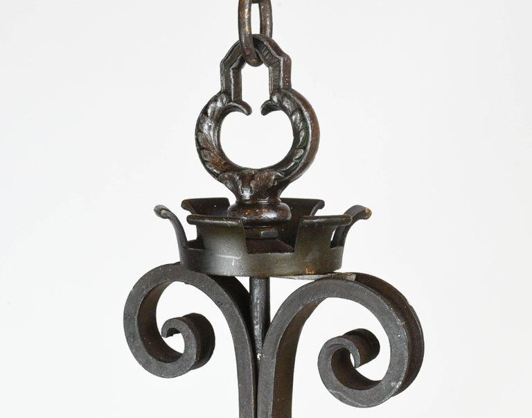 Iron Four Candle Ring Chandelier with Shields For Sale 4