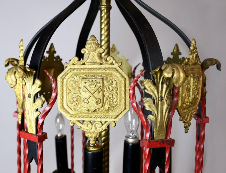 Tall nine candle tudor chandelier for sale at 1stdibs nine candles illuminate this tall regal tudor chandelier while decorative shields and leafy ornamentation aloadofball Choice Image