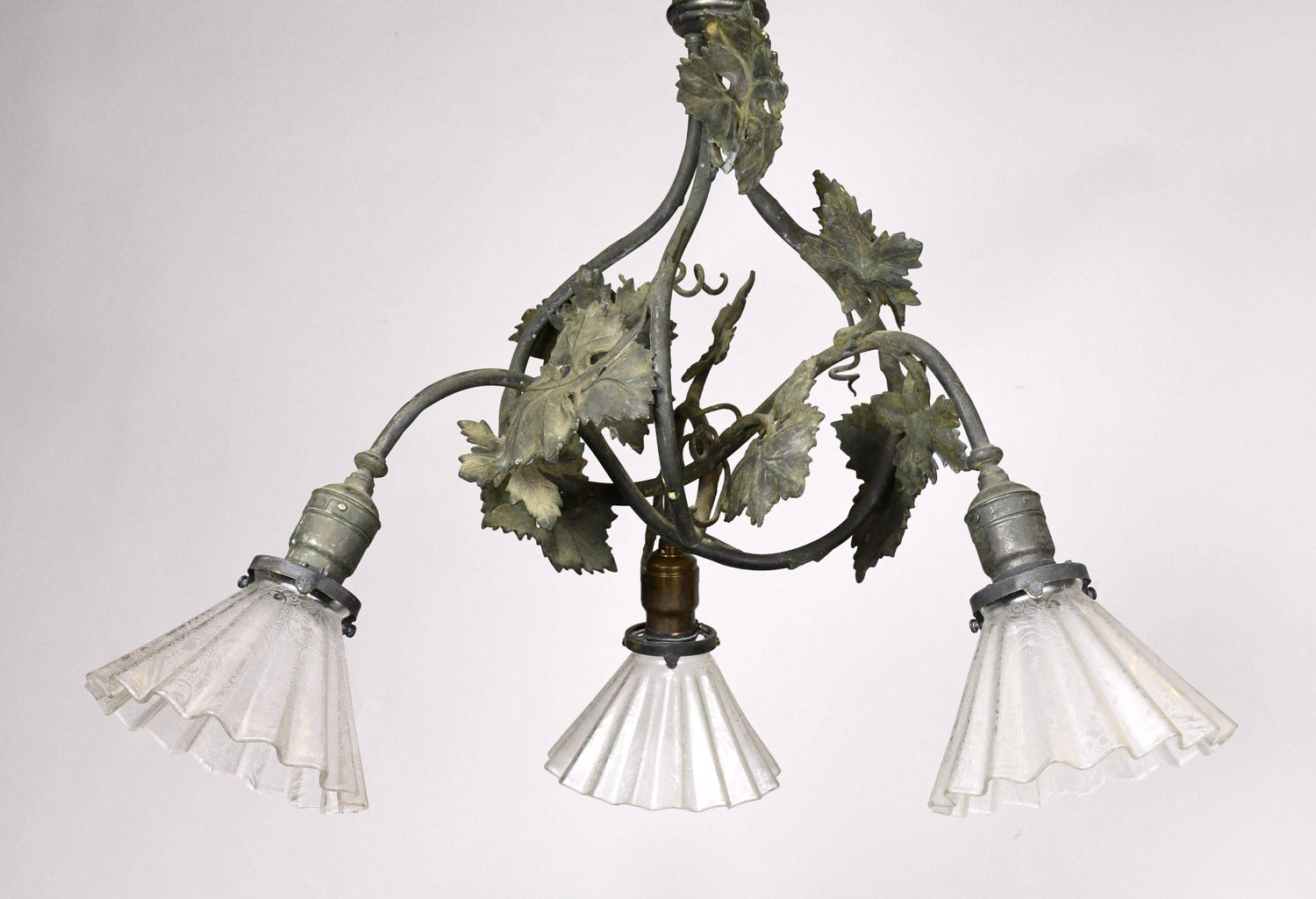 Three light bronze grapevine chandelier with shades at 1stdibs aloadofball Gallery
