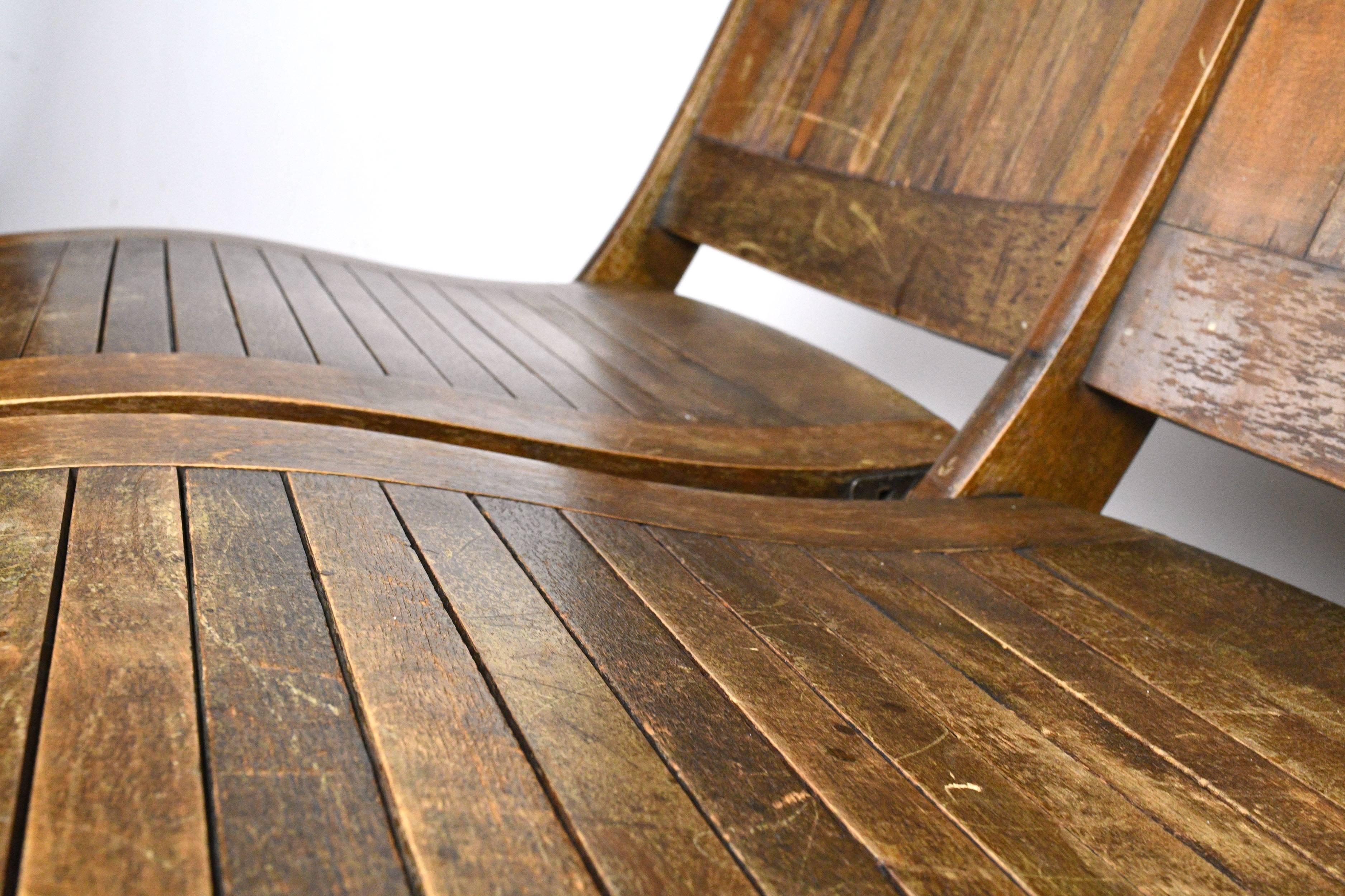 Wood Slat Double Folding Chair At 1stdibs