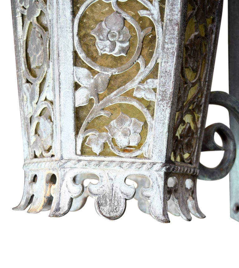 Cast Bronze Tudor Exterior Sconce with Glass For Sale 2