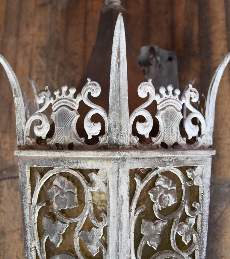 Early 20th Century Cast Bronze Tudor Exterior Sconce with Glass For Sale