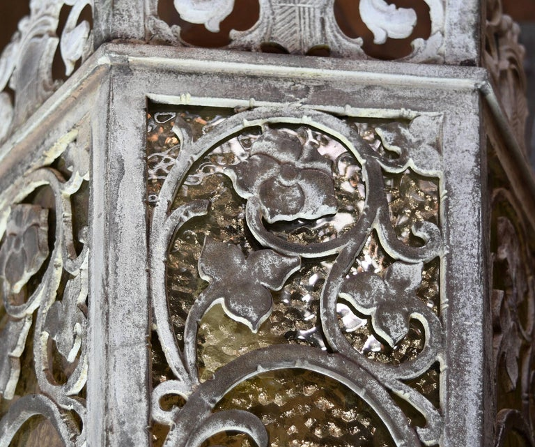 Cast Bronze Tudor Exterior Sconce with Glass For Sale 1