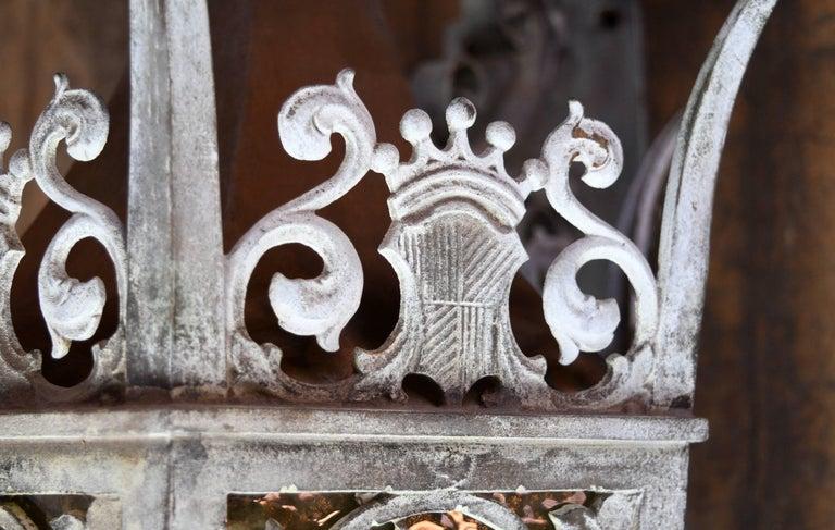 Metal Cast Bronze Tudor Exterior Sconce with Glass For Sale