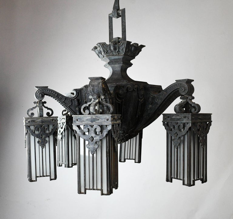 Cast Bronze Victorian Chandelier With Leaded Glass Shades At 1stdibs