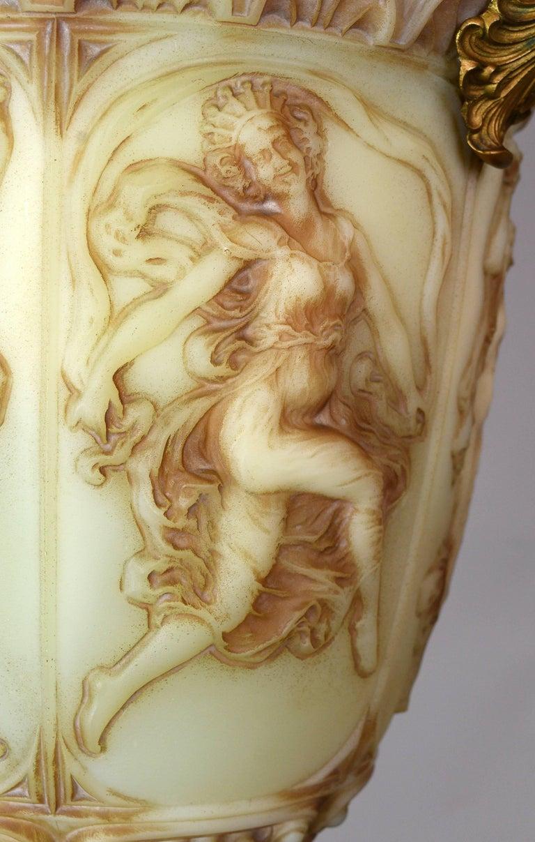 American Vaseline Glass Bowl Figural Pendant For Sale