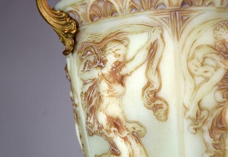 Uranium Glass Vaseline Glass Bowl Figural Pendant For Sale