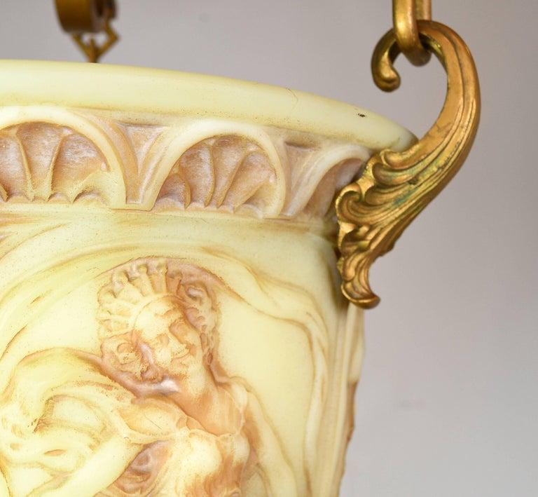 Vaseline Glass Bowl Figural Pendant For Sale 4