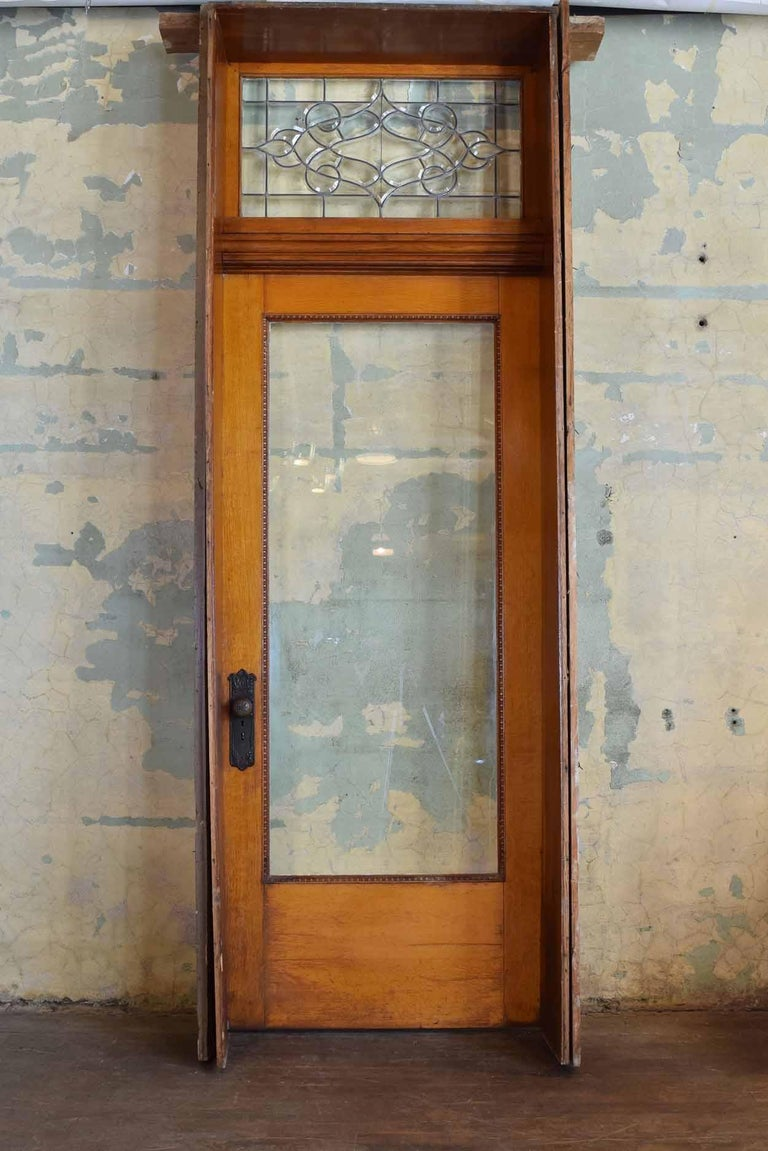 Quartersawn Oak Victorian Exterior Doors With Transom For Sale At