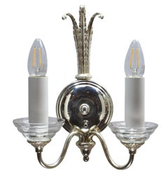 Silver 2-Arm Sconce with Center Tassel