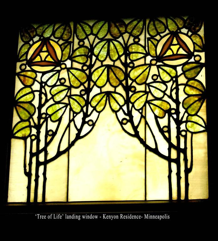 Stained Glass 'Tree of Life' Picture Window Attributed to John S. Bradstreet For Sale
