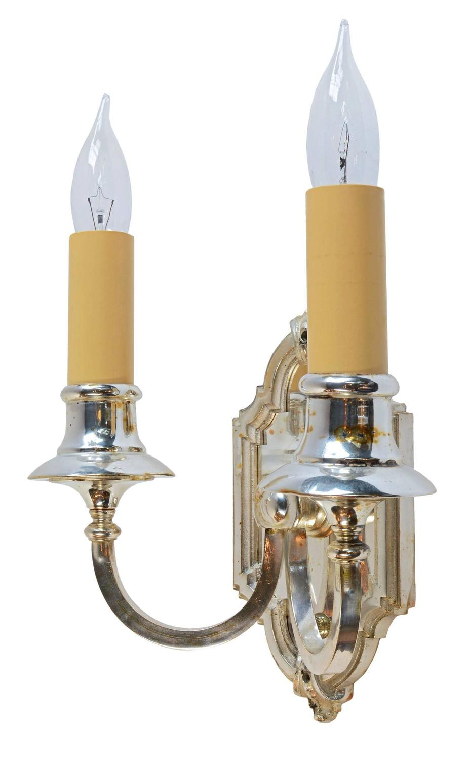 Wall Sconces Silver : Silver Plated Two-Candle Wall Sconce, circa 1915 at 1stdibs