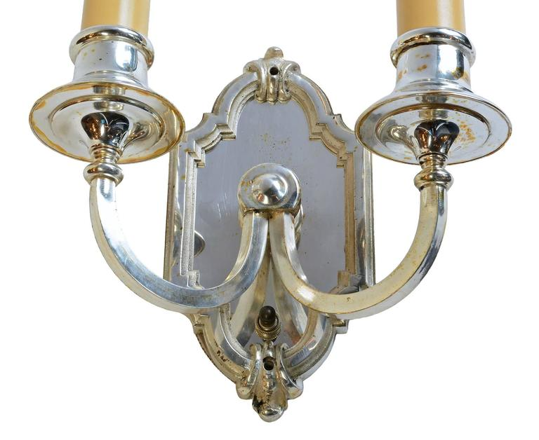 Silver Plated Two-Candle Wall Sconce, circa 1915 at 1stdibs