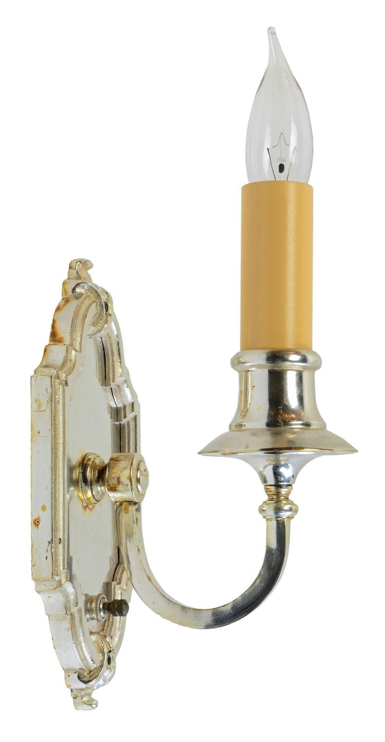 Silver Plated Single Candle Wall Sconce, circa 1915 at 1stdibs