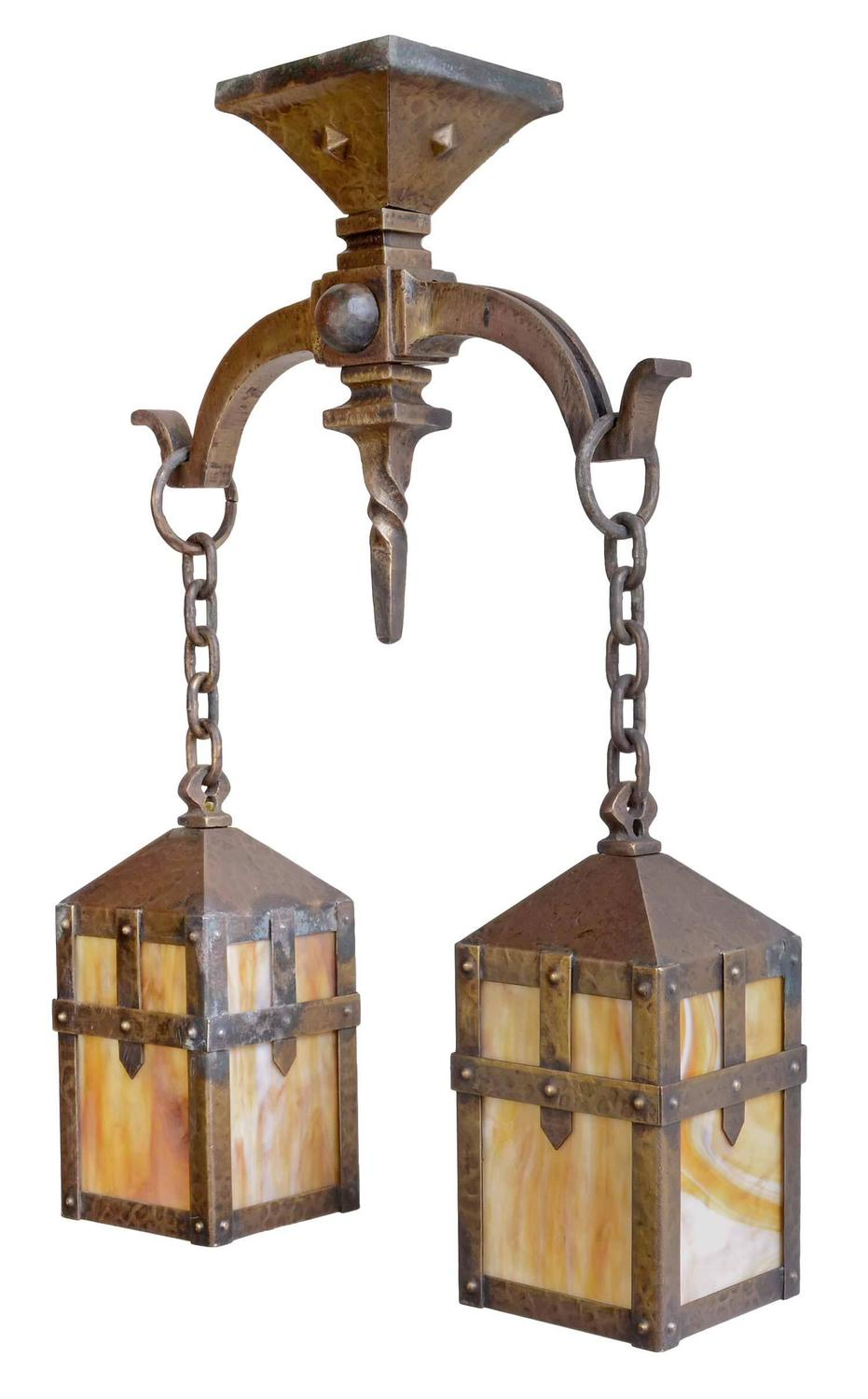 Early 20th Century Hammered Arts And Crafts Iron Fixture