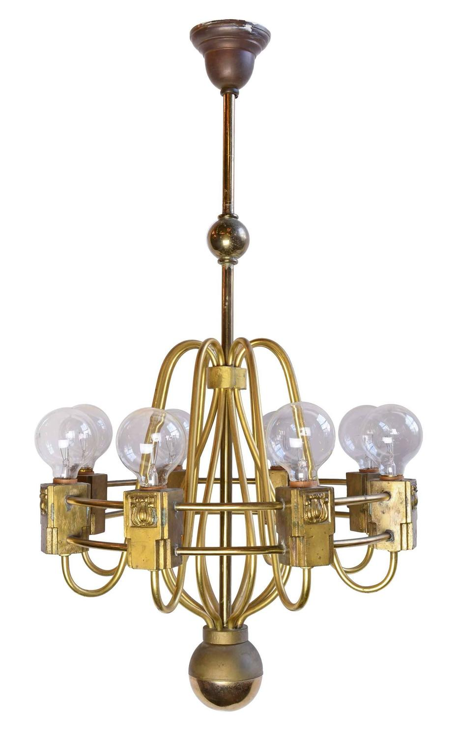 Midcentury cast brass chandelier circa 1940 for sale at 1stdibs - Circa lighting chandeliers ...