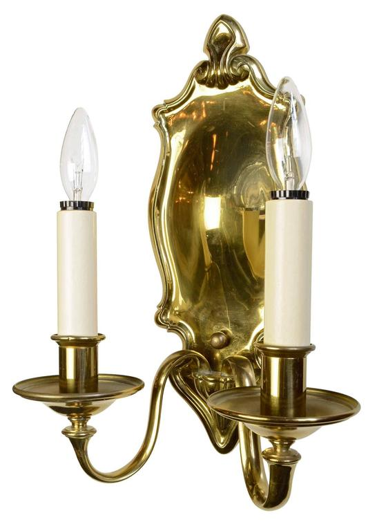 Colonial Brass Wall Sconces : Signed Bradley and Hubbard, 1920s, Colonial Revival Brass Sconce, Pair For Sale at 1stdibs
