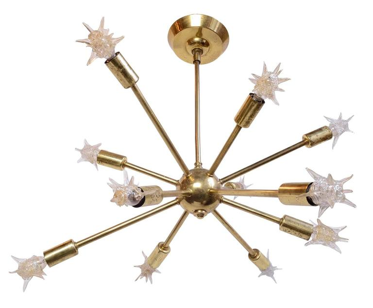 Mid Century Modern Brass 1960 S Sputnik Chandelier With Original Starlight Bulbs For