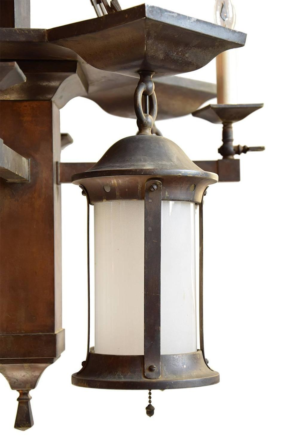Gas Electric Mission Chandelier With Original Glass