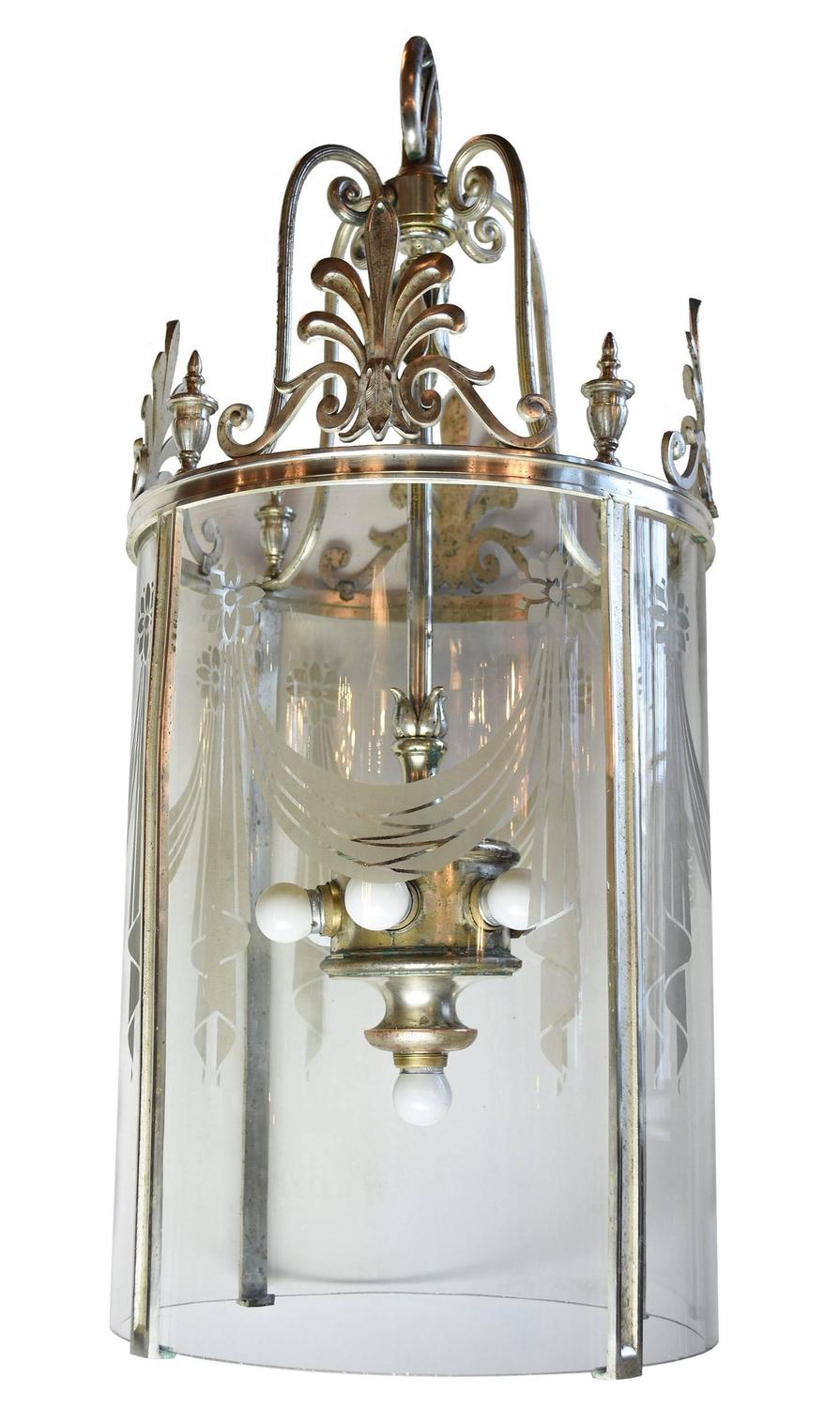 Grand 1920s Silver Plated Pendant Light With Etched Glass