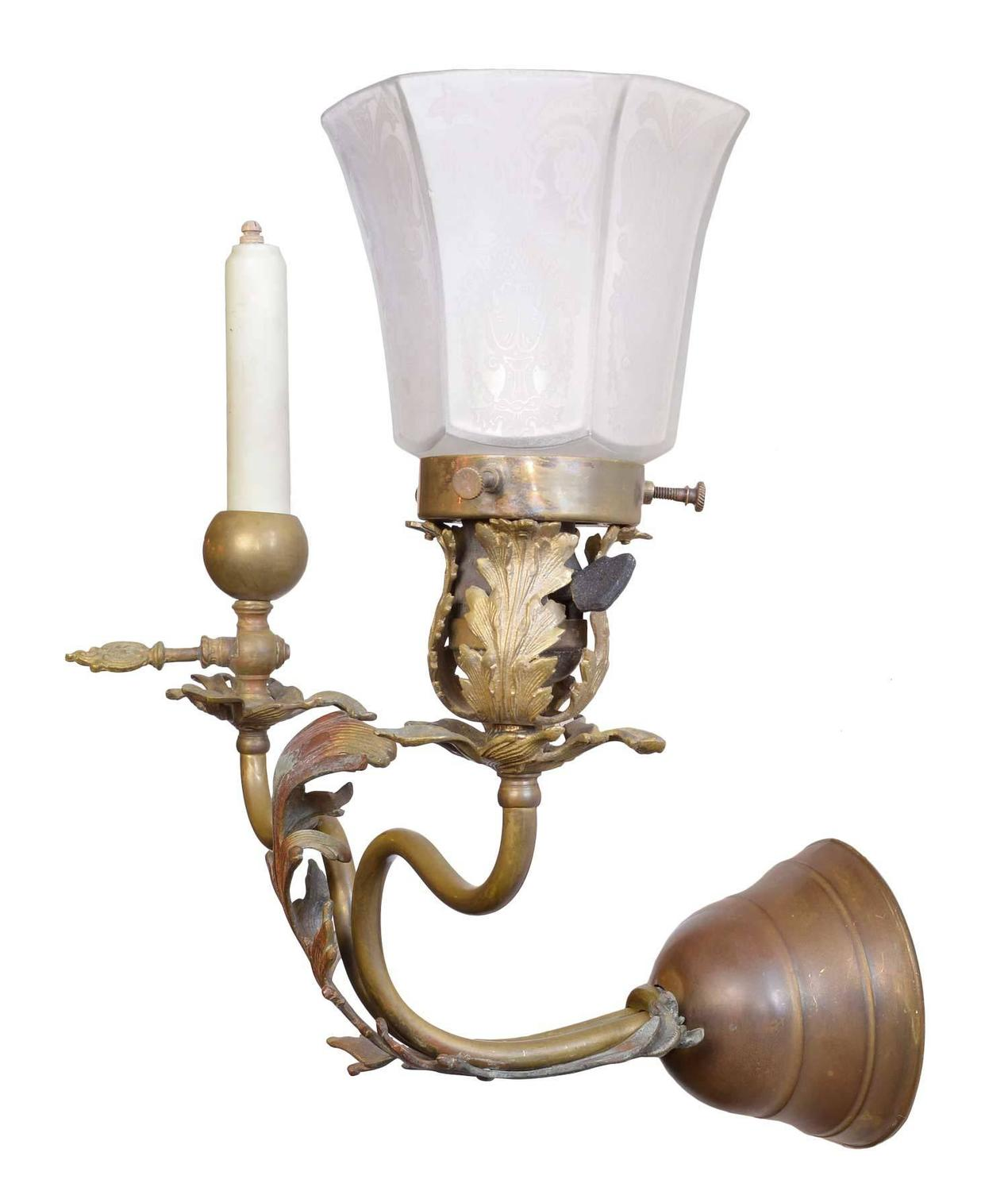 Brass Wall Sconces Electric : 1890s Victorian Gas Electric Brass Sconce For Sale at 1stdibs