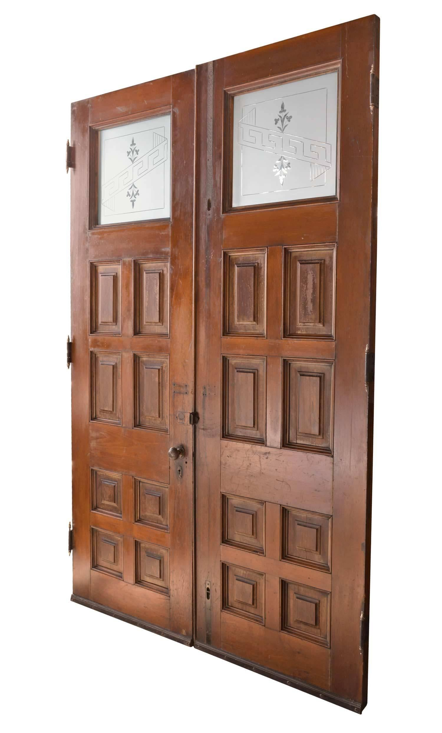 Early Victorian Entry Door Pair With Original Hardware And Etched