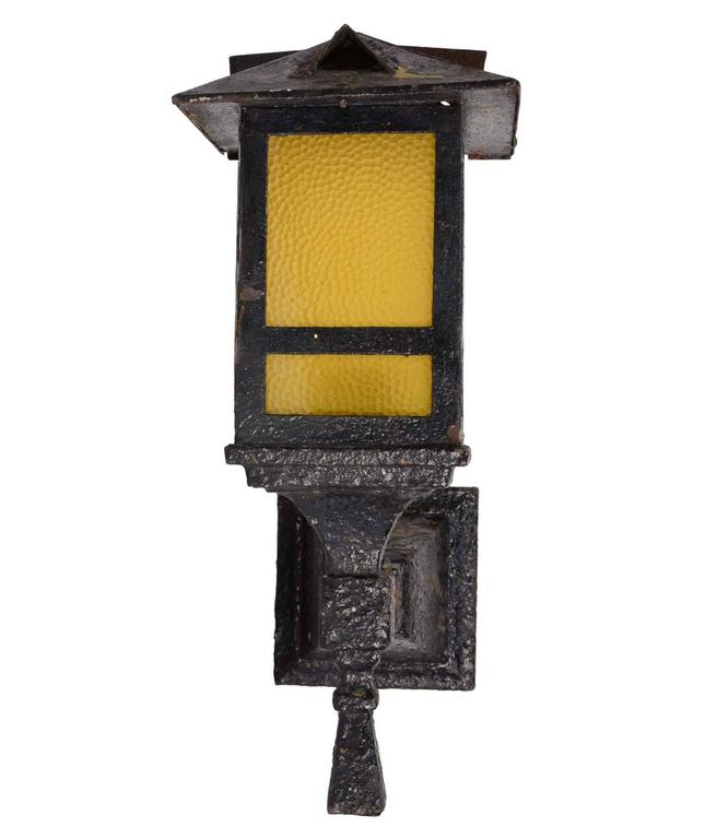 Original iron arts and crafts exterior sconce pair with for Arts and crafts candle sconces