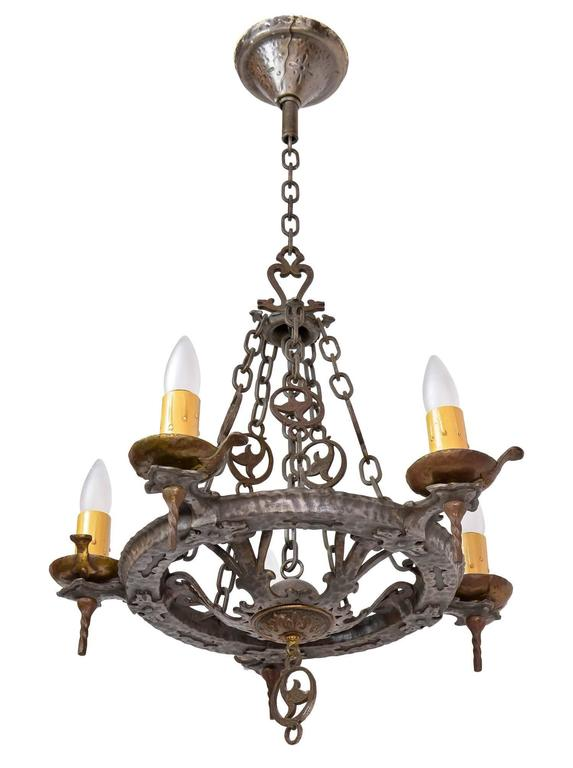 Hammered 1930s tudor revival chandelier for sale at 1stdibs this iron chandelier is plated in brass and pewter and includes a great decorative chain aloadofball Images