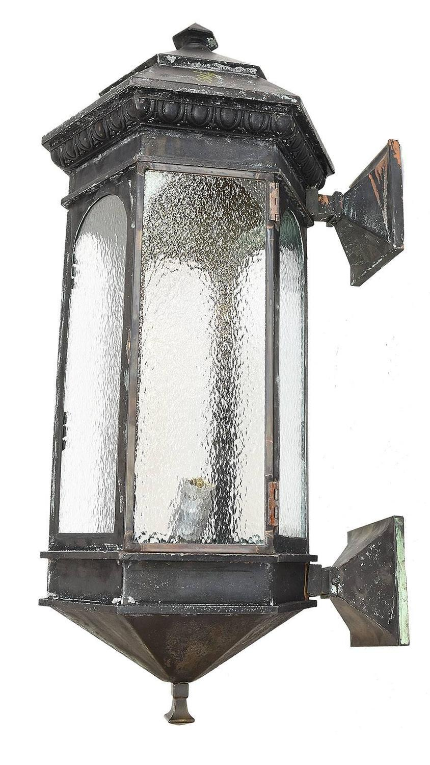 Pair Of Victorian Oversized Exterior Sconces With Textured Glass At 1stdibs