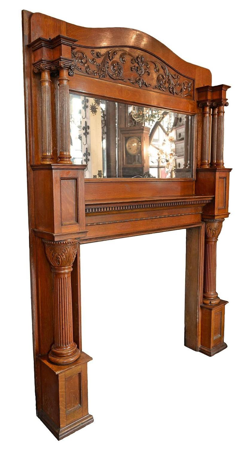 Oak Victorian Fireplace Surround With Mirror At 1stdibs
