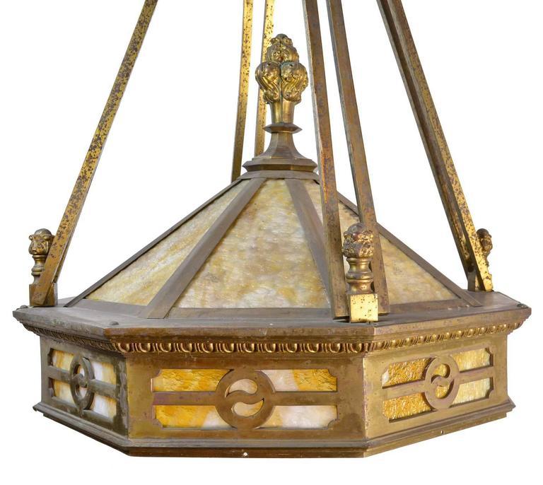 Large cast brass mission chandelier for sale at 1stdibs american large cast brass mission chandelier for sale aloadofball Gallery
