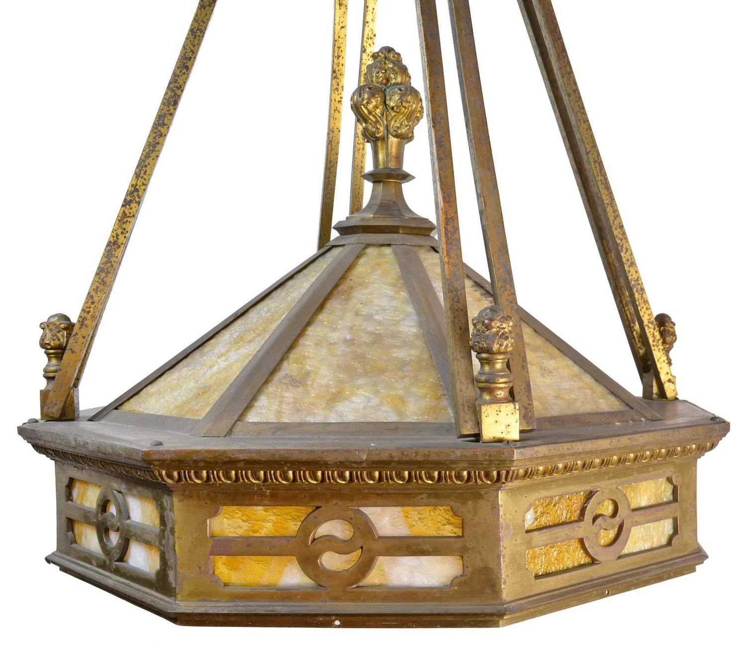 Grand Mission Chandelier circa 1915 in Cast Brass For Sale