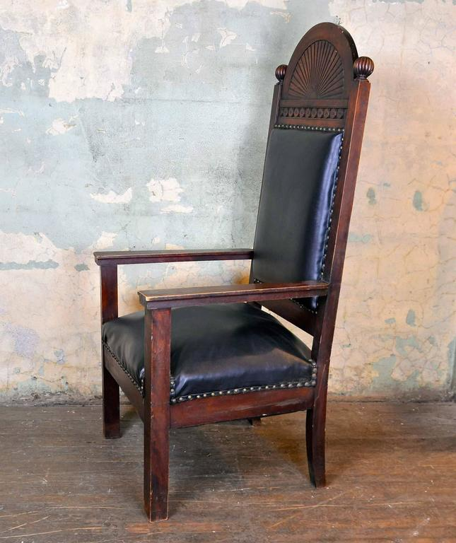 Walnut Lodge Chair With Decorative Carved Arch By Shaw Furniture Co.,  Boston, MA