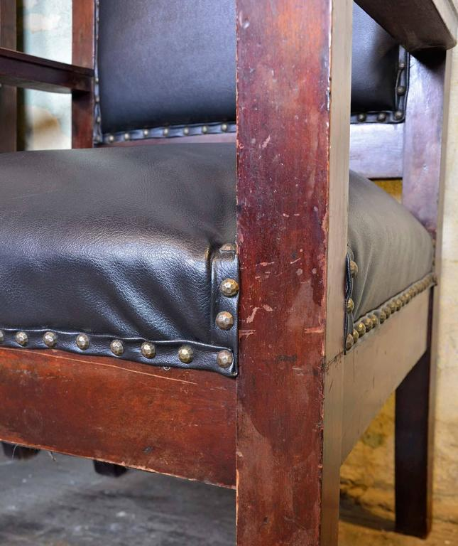 Victorian Walnut Lodge Chair with Decorative Carved Arch by Shaw Furniture Co., Boston, MA For Sale
