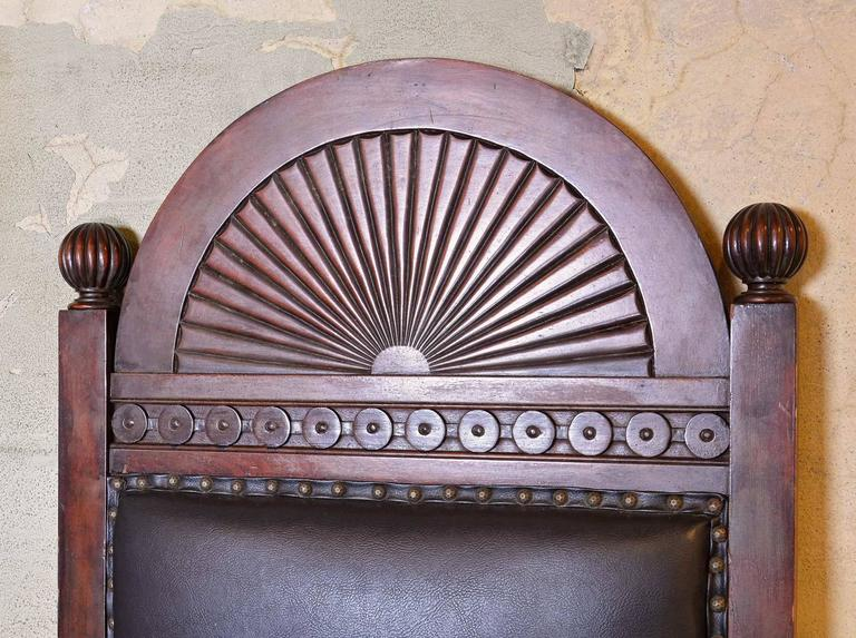 American Walnut Lodge Chair with Decorative Carved Arch by Shaw Furniture Co., Boston, MA For Sale