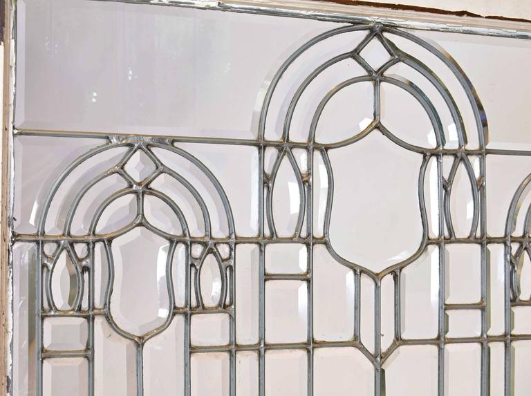 Victorian Turn-of-the-Century Beveled Glass Window with Arches For Sale