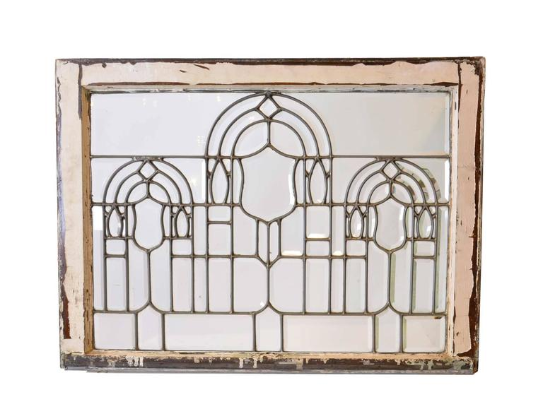 20th Century Turn-of-the-Century Beveled Glass Window with Arches For Sale