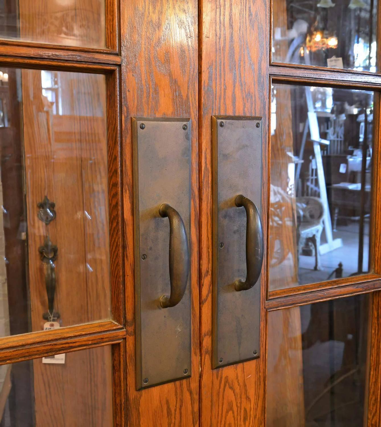 1500 #B15110 Beautiful Oak Double Door Set With Transom And Sidelights At 1stdibs picture/photo Entry Doors With Sidelights And Transom 40591339