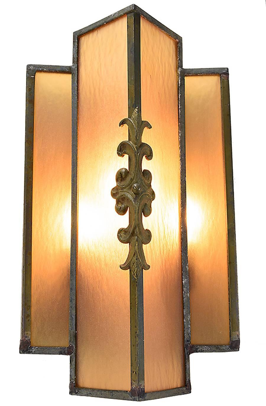 Wall Sconces Stained Glass : Pair of Art Deco Stained Glass Sconce For Sale at 1stdibs