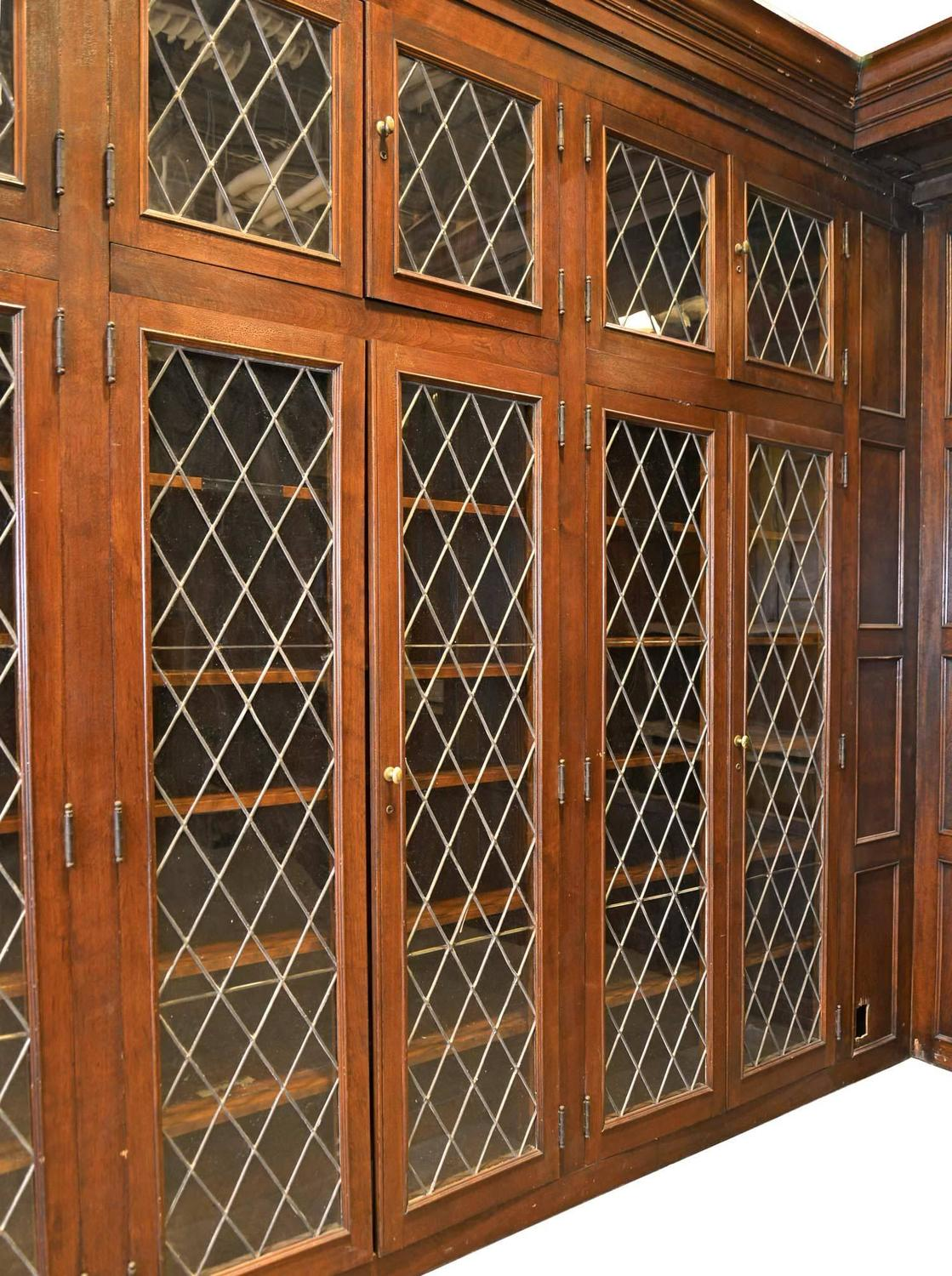 Complete Walnut Library With Diamond Pane Leaded Glass