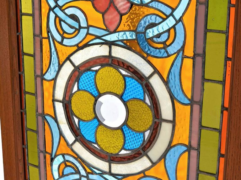 American Victorian Teal and Amber Stained Glass Window with Rondelles For Sale