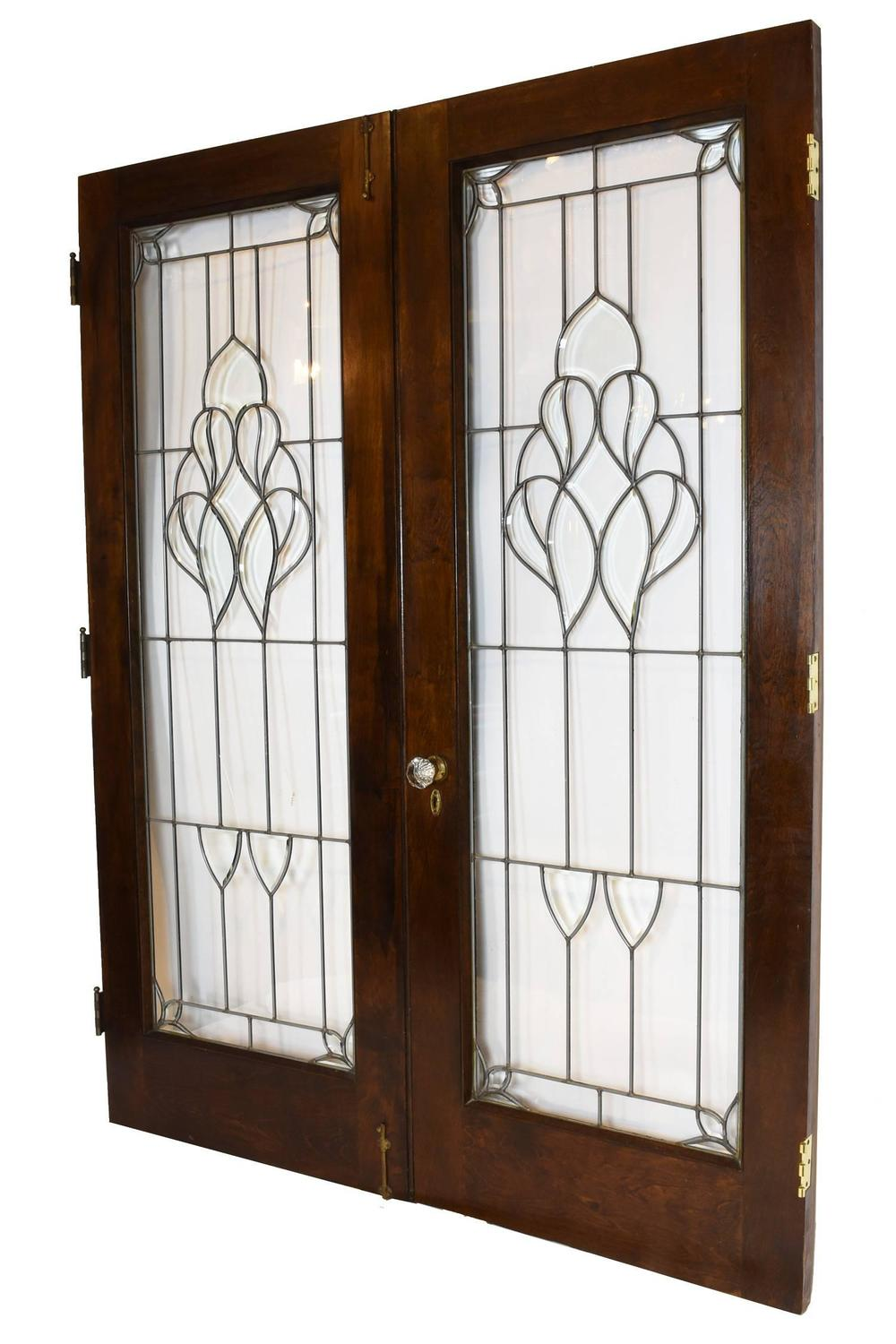 Arts And Crafts Beveled Glass French Door Set For Sale At 1stdibs
